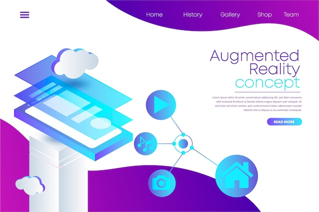 Augmented reality landing page web template Free Vector