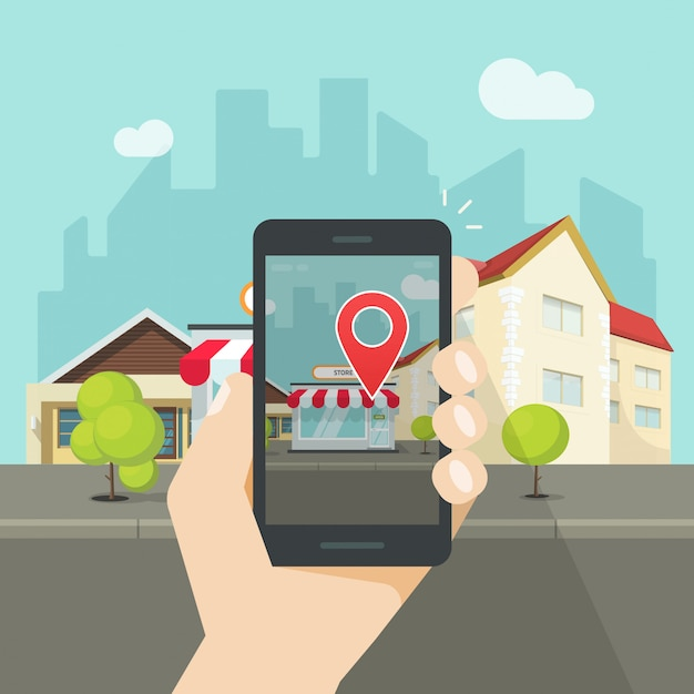 Augmented reality on mobile phone or smartphone with navigation pin pointer vector flat cartoon ...