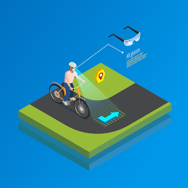 Augmented reality navigation gadget isometric poster Free Vector