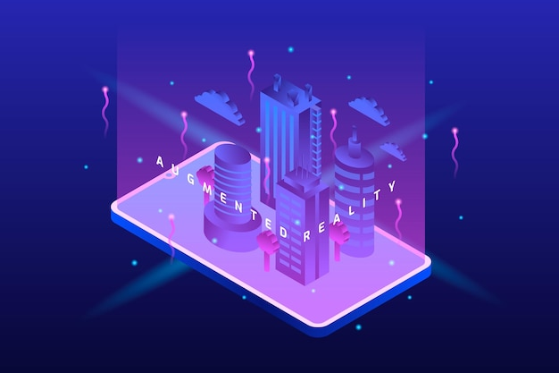 Augmented reality purple cyber city Premium Vector