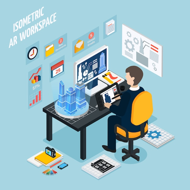 Augmented reality workplace isometric composition Free Vector