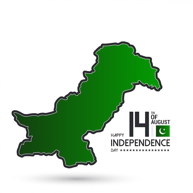 August 14th pakistan independence greetings Free Vector