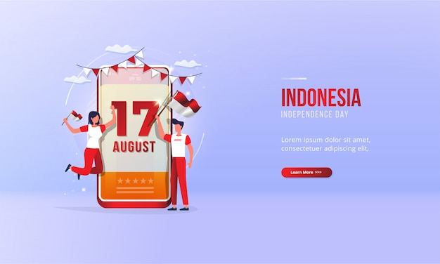 August 17, illustration of celebrating indonesia's independence day for greeting concept Premium Vector