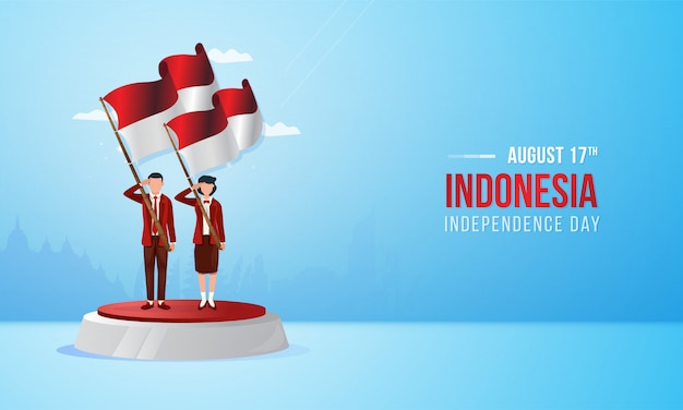 August 17, indonesian national day with illustration Premium Vector