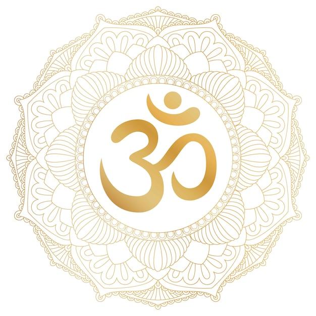Aum om ohm symbol in decorative round mandala ornament. Premium Vector