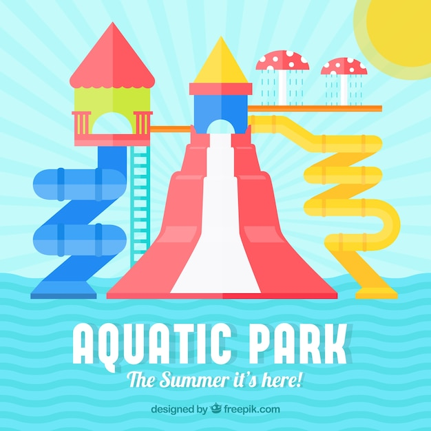 Auquatic park background in flat design