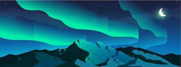 Северное сияние явление плоская цветная иллюстрация Premium векторы