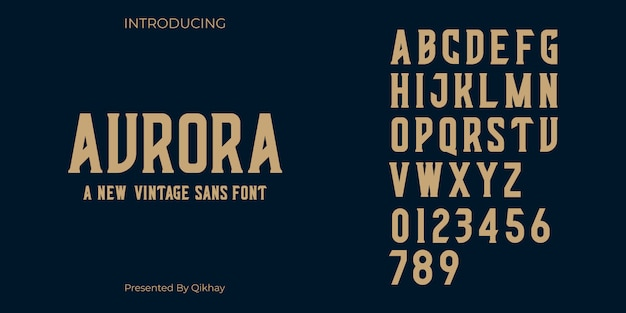 Aurora vintageフォント Premiumベクター