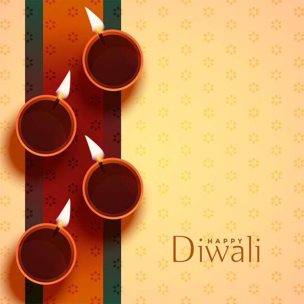 Auspicious happy diwali diya lamp decoration Free Vector