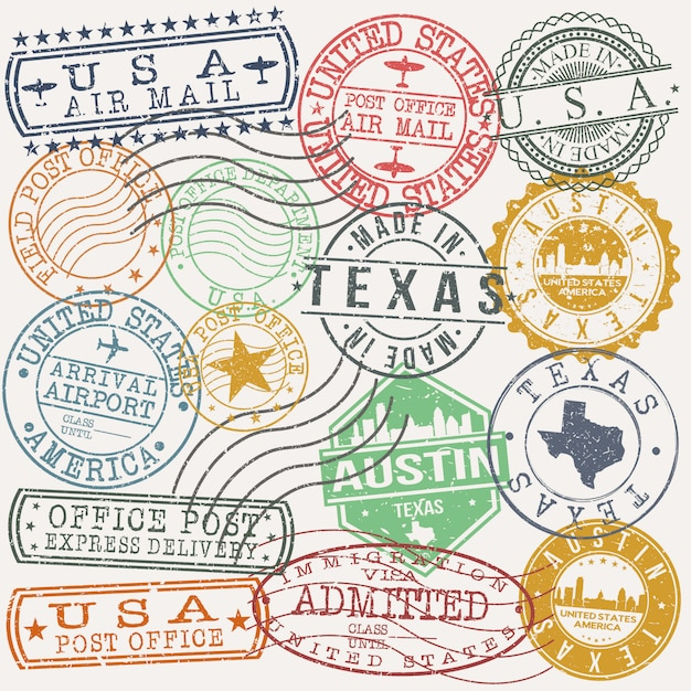 Austin texas set of travel and business stamps Premium Vector