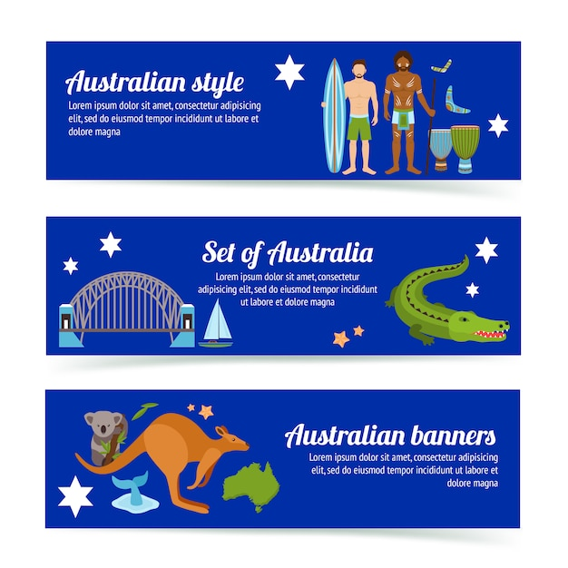 Australia banner template set Free Vector