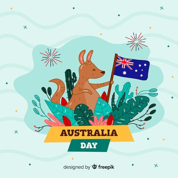 Australia day background of nice kangaroo with flag Free Vector