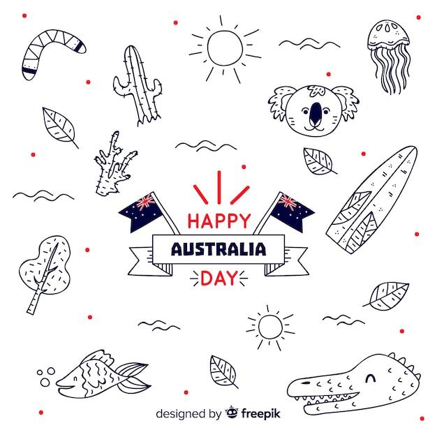 Priorità bassa di giorno di australia con elementi disegnati a mano Vettore gratuito