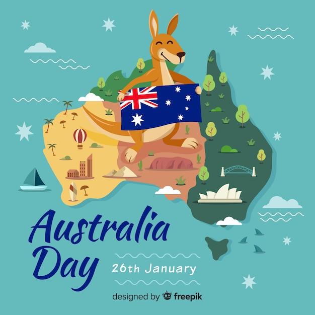 Australia day background with kangaroo Free Vector