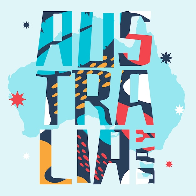 Australia day colourful lettering Free Vector
