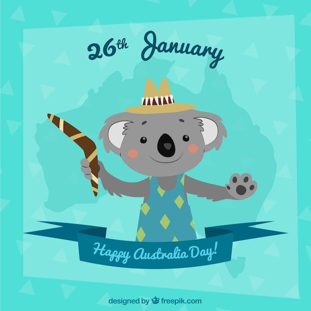 Australia day design with cute koala Free Vector