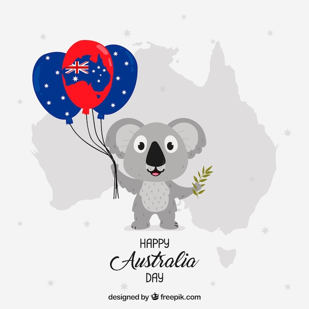 Australia day design with koala holding balloons Free Vector