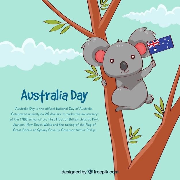 Australia day design with koala in tree Free Vector