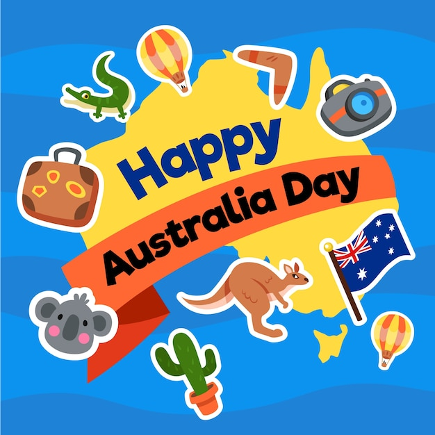 Australia day in flat design with map and animals Free Vector