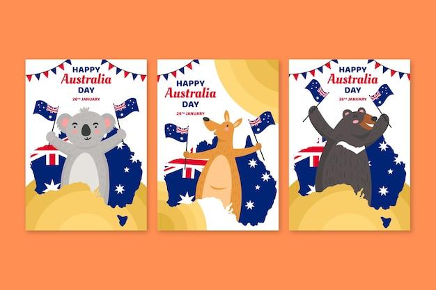Cartoline d'auguri di giorno dell'australia Vettore gratuito