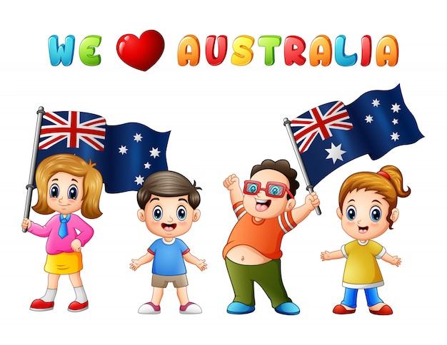 オーストラリアデーの国旗子供子供たちは国が大好き Premiumベクター
