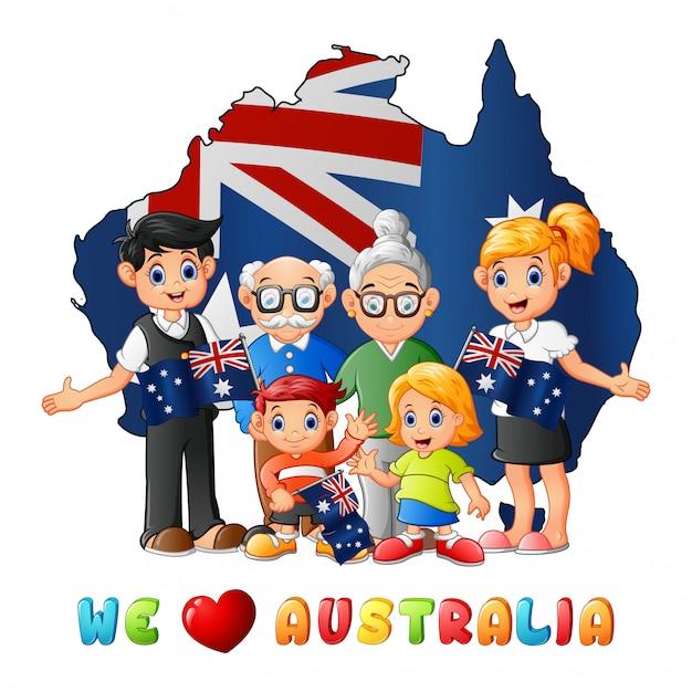 大家族とオーストラリア日国旗の地図 Premiumベクター