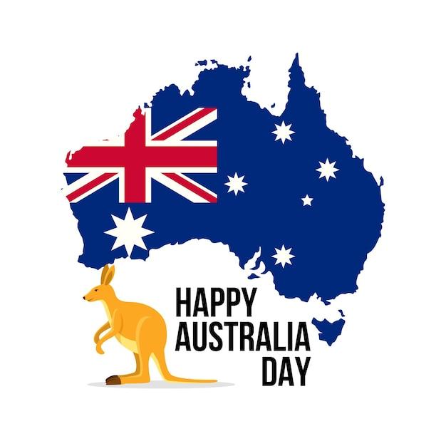Giornata dell'australia con mappa australiana Vettore gratuito