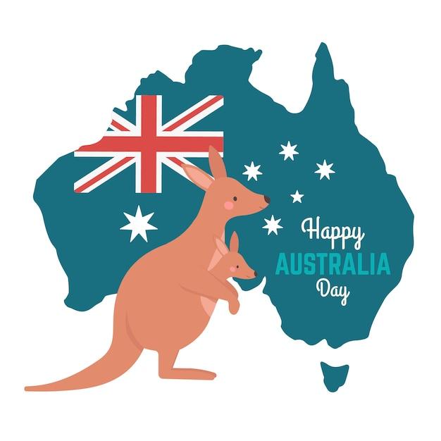 День австралии с кенгуру и картой Бесплатные векторы