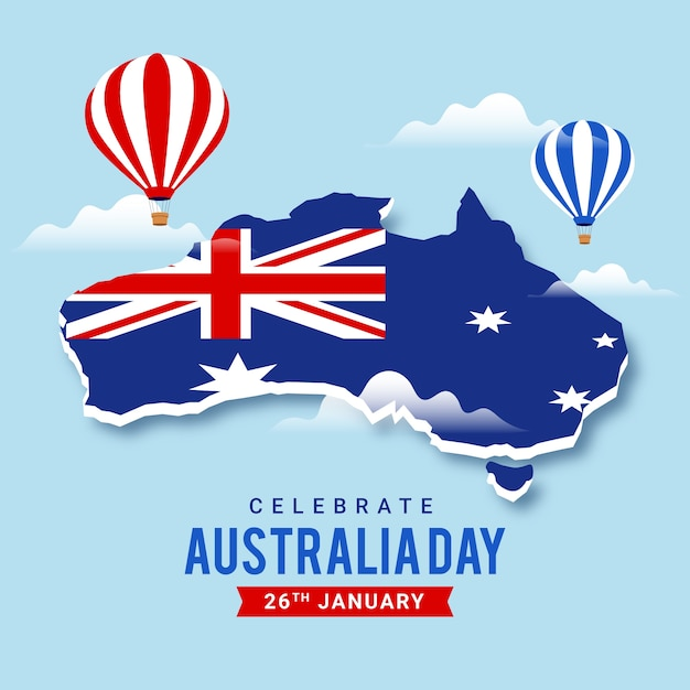 Australia day with map and hot air balloons Free Vector