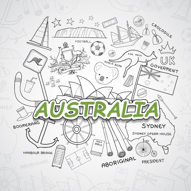 Australia elements collection Free Vector
