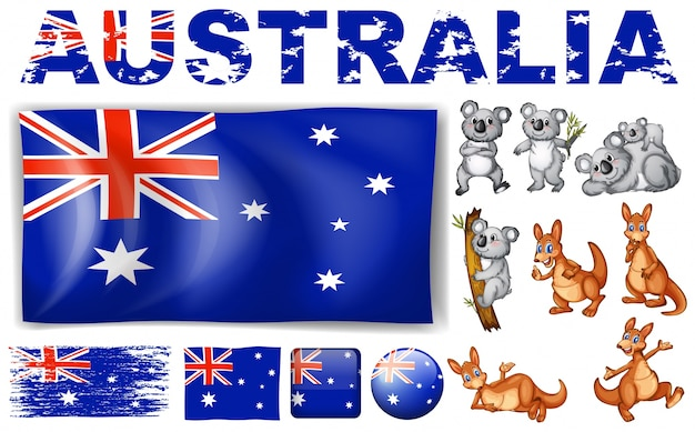 Australia flag in different designs and wild\ animals illustration