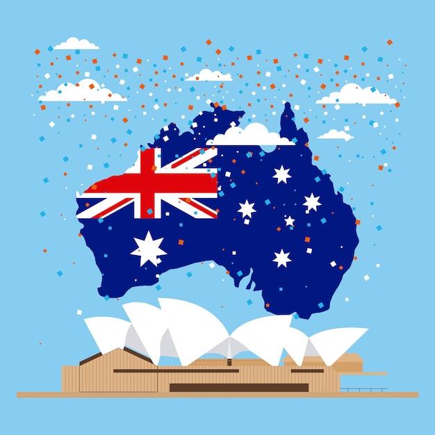 Флаг австралии на карте, оперный театр Бесплатные векторы