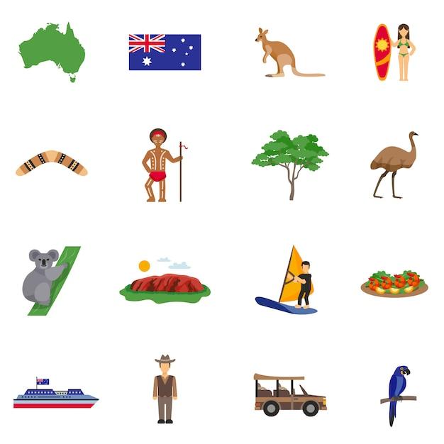 Australia flat icons set Premium Vector