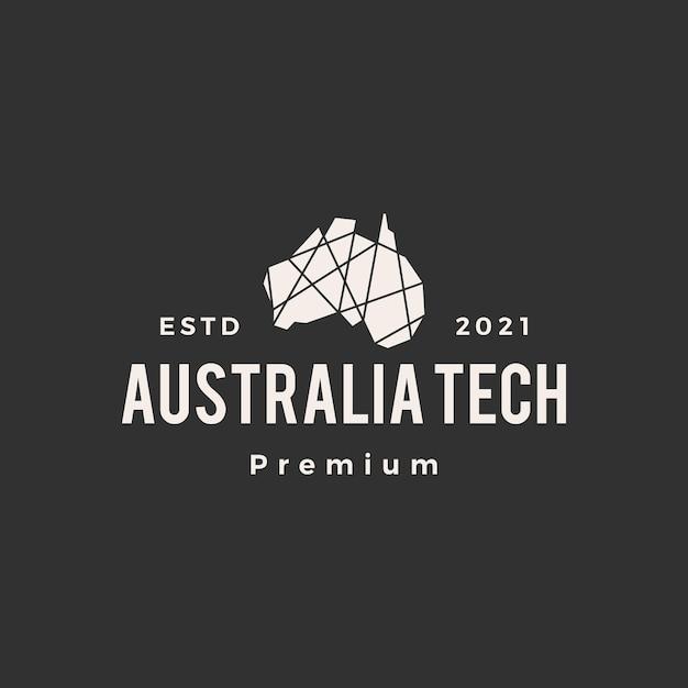 オーストラリアの幾何学的な多角形のハイテクヒップスターのビンテージロゴ Premiumベクター