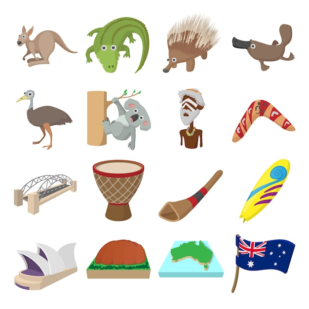 Australia icons in cartoon style for web and mobile devices Premium Vector