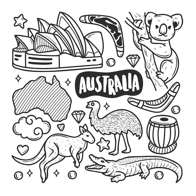 Colorazione disegnata a mano di scarabocchio delle icone dell'australia Vettore gratuito