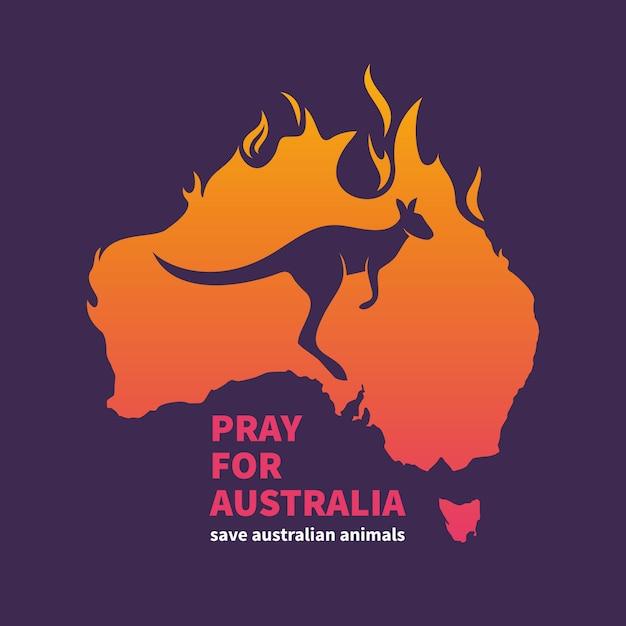 Австралия в огне Premium векторы