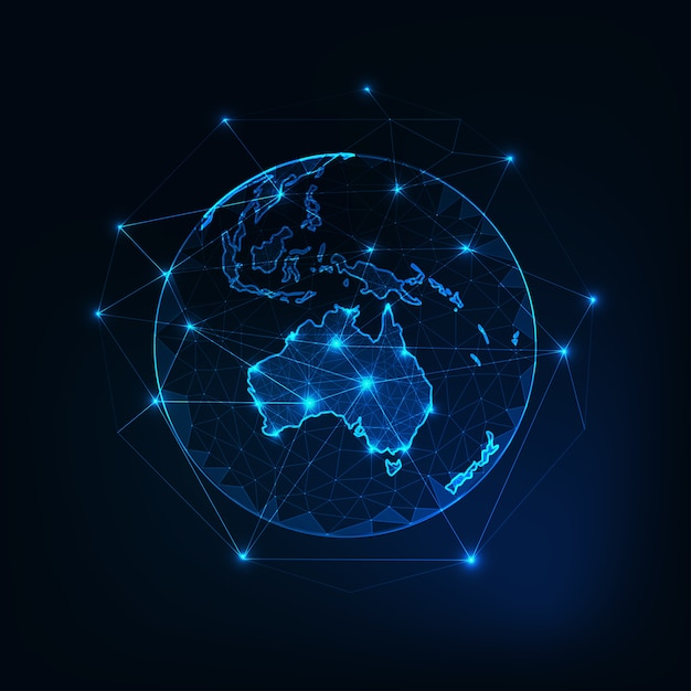 Australia map continent on planet earth view from space. Premium Vector