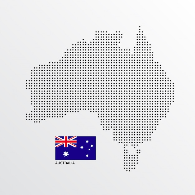 Australia Map Vector.Australia Map Design With Flag And Light Background Vector Vector