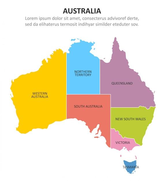 Australia Multicolored Map With Regions Premium Vector