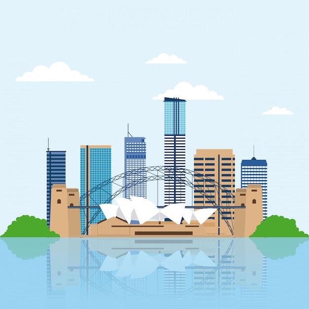 Australia skyline, city buildings Free Vector