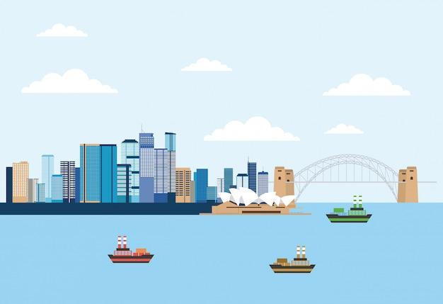 Australia skyline scene near to sea Free Vector