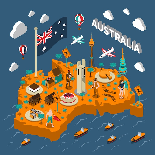 Australia touristic attractions isometric map poster Free Vector