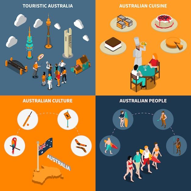 Australia travel  4 isometric icons square Free Vector