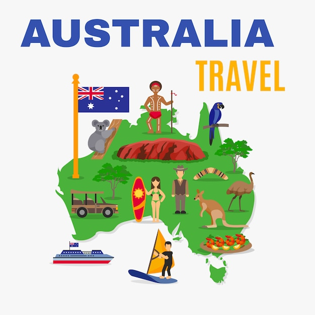 Australia travel map poster Free Vector