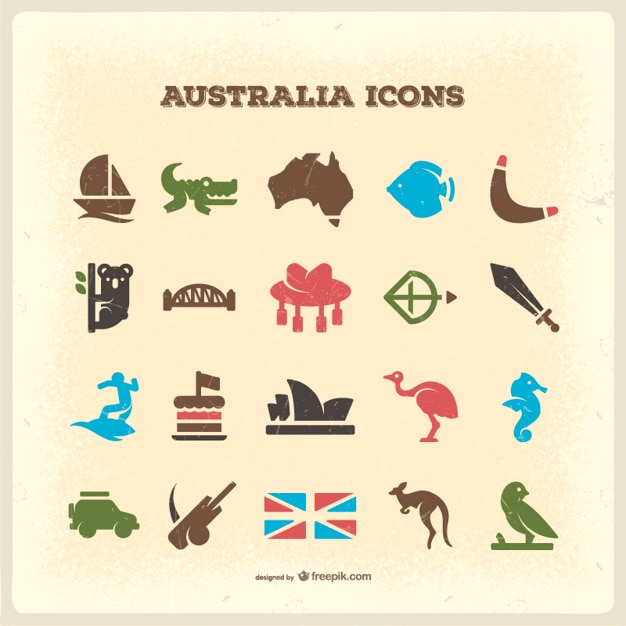 Australia Vintage Icons Vector Free Download