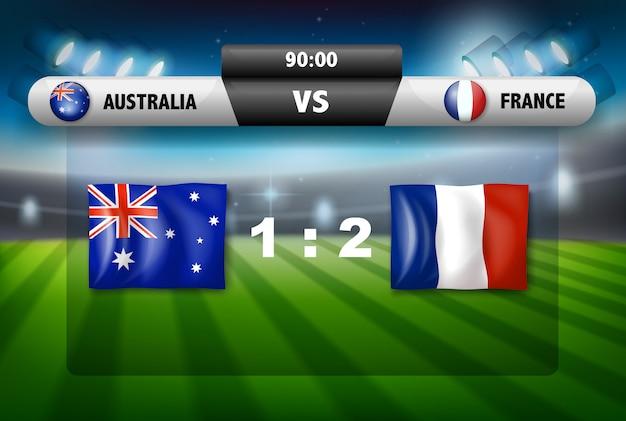Australia vs france scoreboard Free Vector
