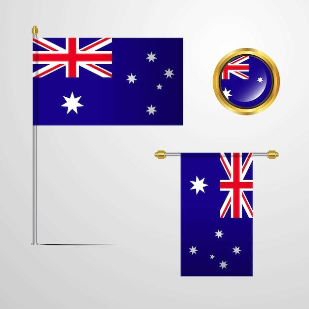 Australia waving flag design with badge vector Free Vector