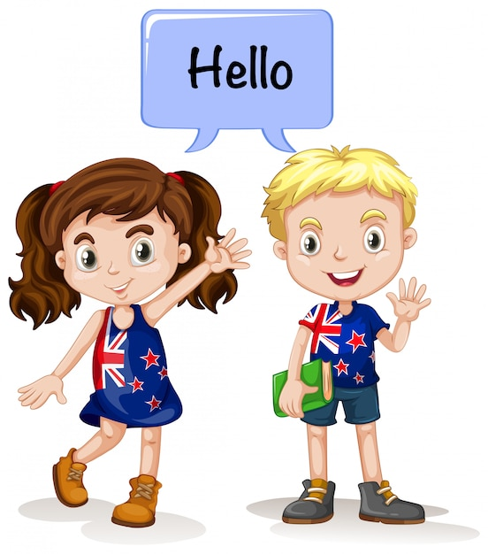 Australian boy and girl saying hello Free Vector