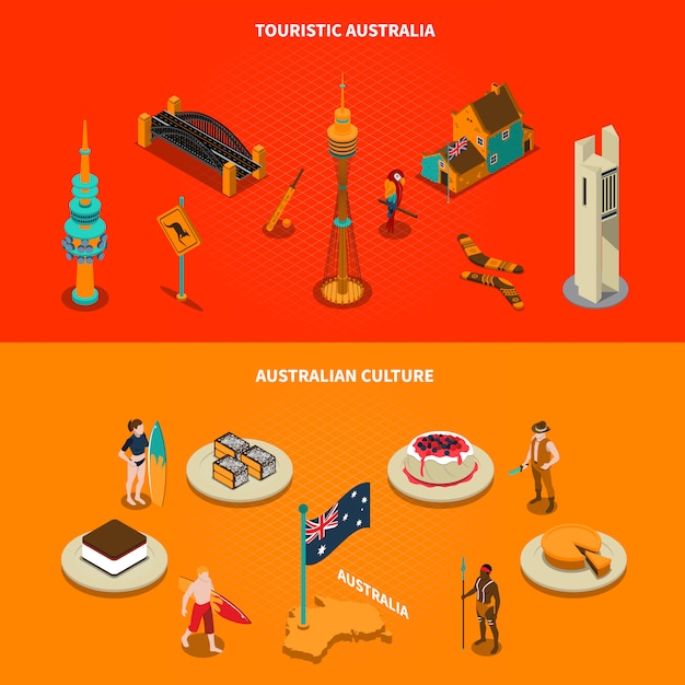 Australian touristic attractions isometric elements Free Vector